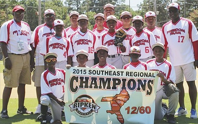 WE ARE THE CHAMPIONS: Freedom Farm capped an undefeated performance at the 2015 Southeast Regional 12 and Under Major/60 tournament with a 12-1 win over Kinston, North Carolina. They won by virtue of a walk-off home run to win via the 10-run mercy rule through four innings.