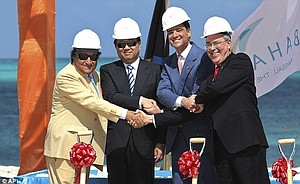Ground-breaking: From left, businessman Dikran Izmirlian, Li Ruogu, chairman of Export-Import Bank of China, Sarkis Izmirlian the Baha Mar CEO, and Bahamian Deputy Prime Minister Brent Symonette