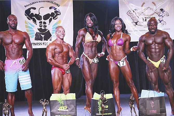OVERALL CHAMPIONS: Shown (l-r) are Endierich Brown, Paul Wilson, Lakeisha Miller, Amy Sands and Jimmy Norius.