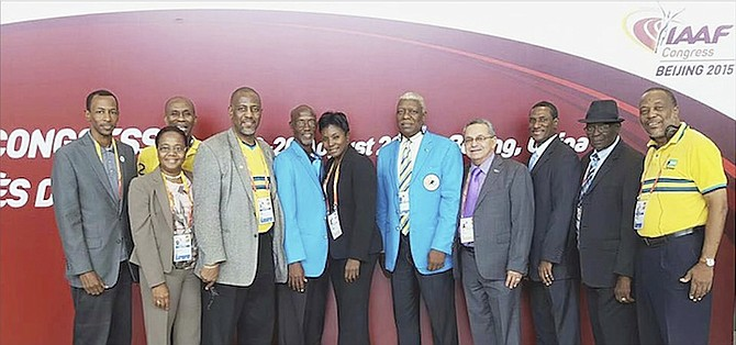 'GOLDEN GIRL' Pauline Davis-Thompson (sixth from right) has been re-elected to serve as an individual member of the IAAF. Here, she can be seen with Bahamian participants at the IAAF Congress.