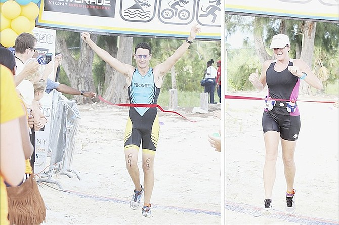 Nationally renowned triathlete Simon Lowe was the men's overall winner while Julie Salas finished first among the women at the 2015 Powerade Potcakeman Triathlon at Jaws Beach, Clifton Heritage Park, on Saturday.                                                                                                 Photos: Tim Clarke/Tribune Staff