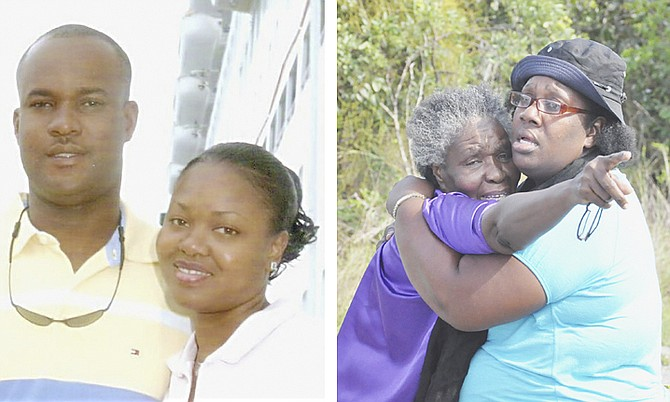 LEFT: Murder victims Barry and Sheila Johnson. RIGHT: The mother of Sheila Johnson is consoled yesterday.