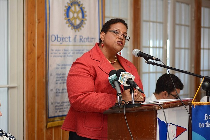Long Island MP Loretta Butler-Turner speaking on hurricane relief to the Rotary Club of East Nassau at Nassau Yacht Club. Photo Shawn Hanna