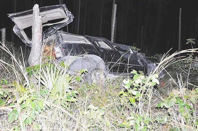 The crashed car in Grand Bahama. Photo: Vandyke Hepburn