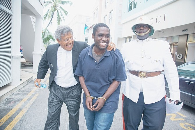 Jamaican Matthew Sewell leaves court with his lawyer Fred Smith after being released from detention last year. Photo: Jay Isaacs/JKL Media