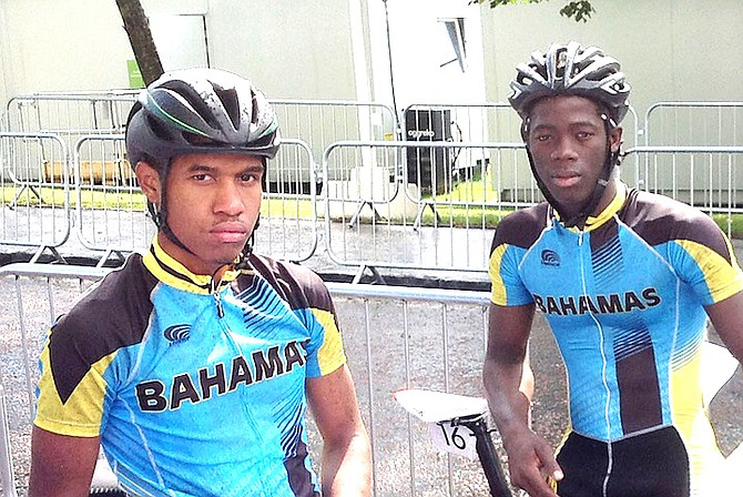 JAY MAJOR (left) and ANTHONY COLEBROOK (right) in this file photo. Colebrook was top finisher for Team Bahamas in 13th place in the individual time trial, covering the 37.6km course in a time of one hour, one minute and 34 seconds.