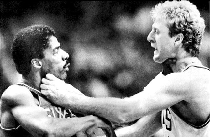 COMICAL: The Larry Bird-Dr J fight.