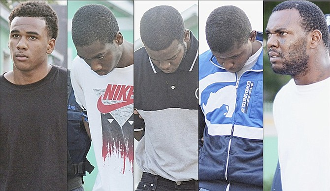 Pictured from left, Delanzo Cartwright Jr, 19, of Carmichael Road; Devonte Burnside, 18, of Pinewood Gardens; Rashad Laroda, 25, of Pinewood Gardens; Deron Neely, 27, of Avocado Street; and Delanzo Cartwright Sr, 37, of Nassau East. The men are accused of being gang members.