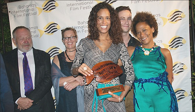 Leslie Vanderpool, right, at the award ceremony for the Bahamas International Film Festival