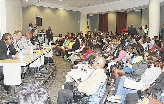 Attendees at the town hall meeting to discuss the National Health Insurance scheme.  Photo: Tim Clarke/Tribune Staff