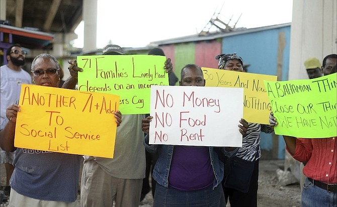 The Potters Cay Dock Fish, Fruit and Vegetables Association held a protest on Tuesday.  Photo: Shawn Hanna/Tribune Staff