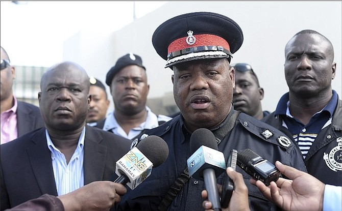 Leon Bethel, senior assistant commissioner of police, is seen speaking to the media after the jailing of escapee Ormand Leon. Photo: Shawn Hanna/Tribune Staff