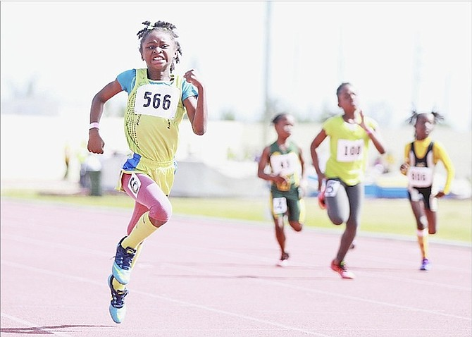 FAST TRACK: Young athletes compete on Saturday as the Road Runners Track Club hosted the 10th Annual Dianna Lynn Track Classic at the Thomas A Robinson Track and Field Stadium. The meet attracted more than 1,000 athletes from New Providence, Grand Bahama, Andros and Abaco.