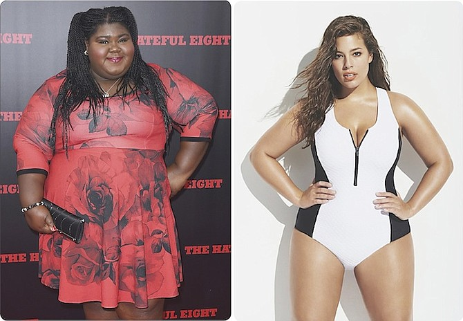 """LEFT: Actress Gabourey Sidibe, starring in """"Empire"""" and """"American Horror Story"""", at the premiere of """"The Hateful Eight"""".  RIGHT: Ashley Graham, modelling here for Forever 21, is the first full-figured model to appear on the cover of Sports Illustrated's annual swimsuit edition. (Photo/Forever 21)"""