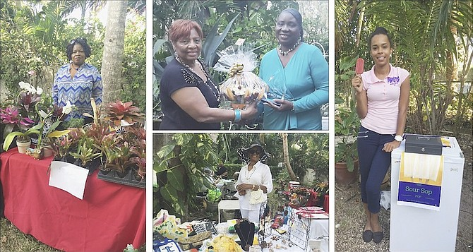 FROM LEFT: The Brom Lady; Cheryl Albury, founder of the Wise Women Festival, with this year's honoree, Elder Minnalee Hanchell of the Great Commission Ministries; Audrey Marie Deveaux with her handbag selection; Tish Ward at her Pop Stop stand.
