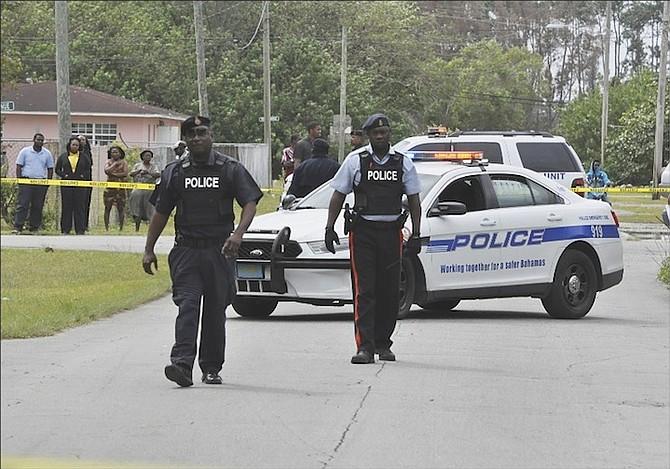 Police at the scene in Freeport. Photo: Vandyke Hepburn