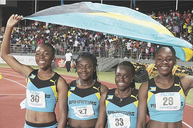 SILVER MEDALLISTS – Bahamas girls' under-20 4x400 metre relay team of Brittany Bethel, Jenae Ambrose, Shaquania Dorsett and Brianne Bethel.