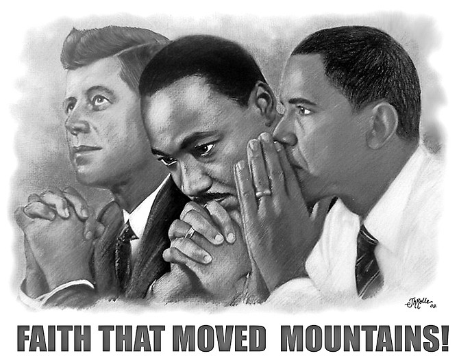 A portrait combining images of John F Kennedy, Martin Luther King and Barrack Obama.