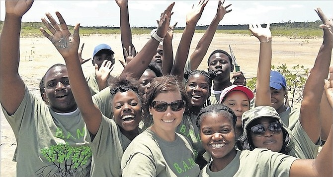Amy Heemsoth, of the Khaled bin Sultan Living Oceans Foundation and creator of the BAM programme, with the Camp Abaco students.