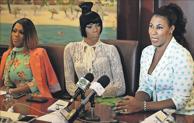 Tori Culmer, right, speaking yesterday at the Transgender and Inter Sex Community press conference at the British Colonial Hilton. Also pictured is, left, Alexus D'Marco and Phylicity Smith. 	