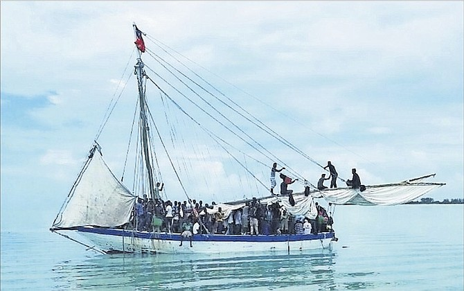 The wooden sailing sloop containing 199 Haitian migrants that was stopped off North Andros.