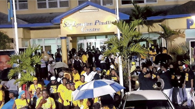 The crowds outside the PLP national general council meeting last night at which Cleola Hamilton, Kenred Dorsett and Fred Mitchell were ratified as candidates for the 2017 election.