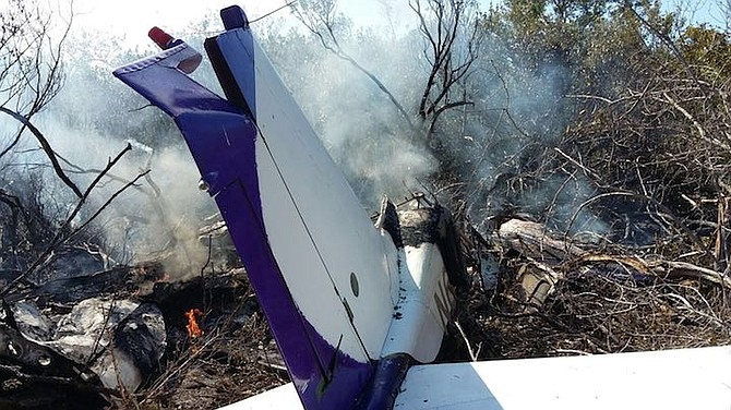 The crashed plane at South Bimini Airport on Sunday