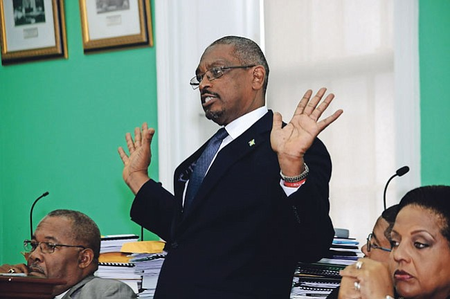 Dr Hubert Minnis speaks in the House of Assembly.