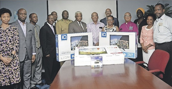 The presentation of three television sets to the Bahamas Department of Correctional Services yesterday.