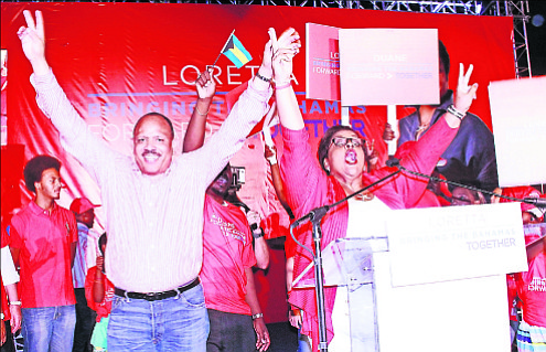 Loretta Butler-Turner and Dr Duane Sands launch their FNM leadership campaign last night.