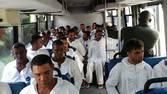 Some of the Cuban migrants captured and taken to Grand Bahama this week.