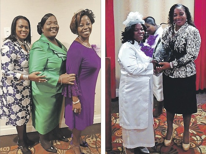 LEFT: Shown (l-r) are Judy Mason of St Lucia, Pastor Monique Seymour and Millicent Kelly, of Exuma. 