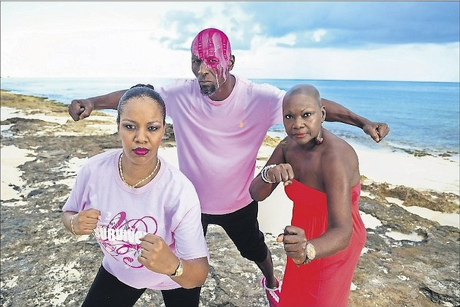 (l-r) Rhondi Robinson, CIBC FirstCaribbean staff member and cancer survivor; Macumbla 'Comby' Smith, soca fitness instructor;, and Comby's mother, Yvonne McCartney, a cancer survivor.