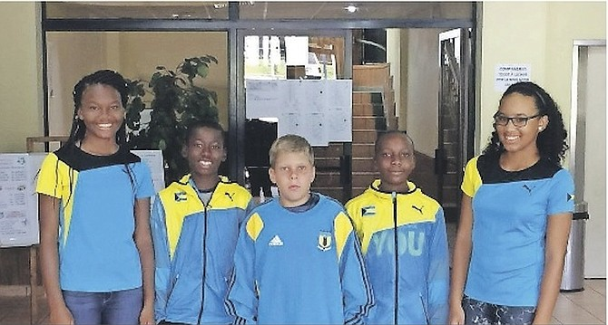 TEAM BAHAMAS UNDER-14 (l-r)- Donesha Gibson, Kofi Bowe, Ryan Fox, Anthony Burrows Jr and Emma Weech.