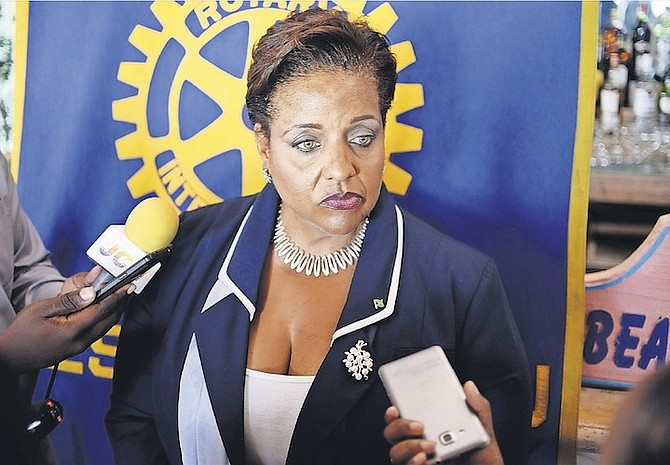 Loretta Butler-Turner giving remarks to the media after addressing the Rotary Club of West Nassau. Photo: Shawn Hanna/Tribune Staff
