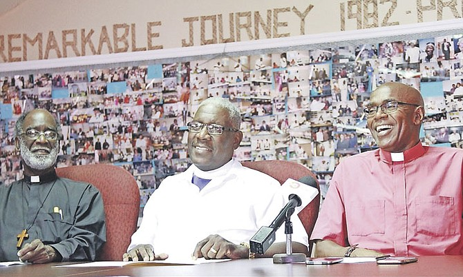 Retired Methodist Minister Charles Lewis, Bishop Simeon Hall and Archdeacon James Palacious.