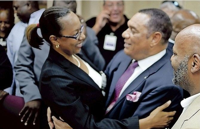 Perry Christie, Prime Minister of The Bahamas, pictured with Denise Abrahamsen, representative of the Baha Mar former employees. Photo: Shawn Hanna/Tribune Staff