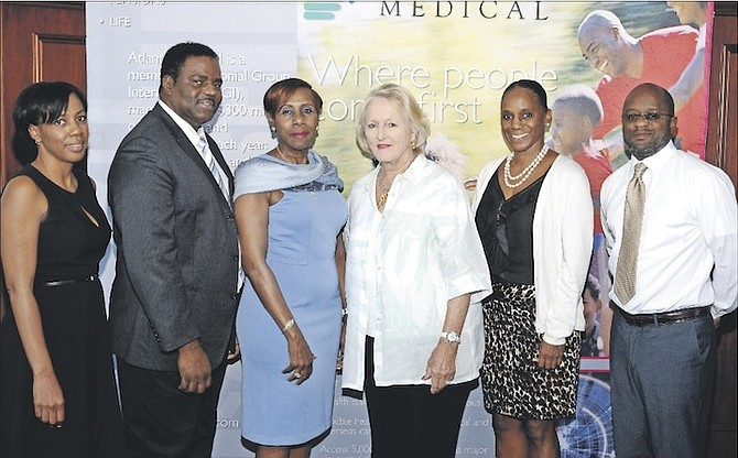 From left, Anastasia Francis, director of operations, Atlantic Medical; Eugene Thurston, director general, The Diabetic Association; Lynda Gibson, vice president and general manager, Atlantic Medical; Susan K Roberts, assistant treasurer and founder of The Cancer Society; Lisa Bellot, marketing co-ordinator and Darren Bastian, business development manager. Photo: TCL Group