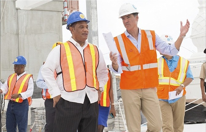 Prime Minister Perry Christie and Baha Mar CEO Sarkis Izmirlian pictured during the construction of Baha Mar. PLP chairman Bradley Roberts has insisted that the developer could not be trusted on matters relating to the stalled resort.