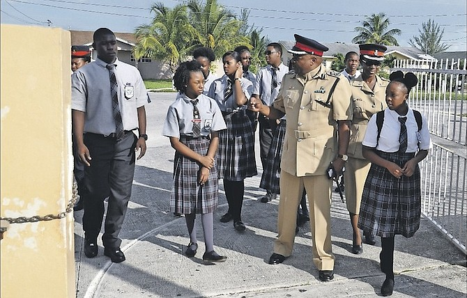 Senior ​Assistant Commissioner of Police Emrick Seymour visited Jack Hayward High School yesterday morning and gave a strong message to the children as they started the new school year. Photo: Vandyke Hepburn