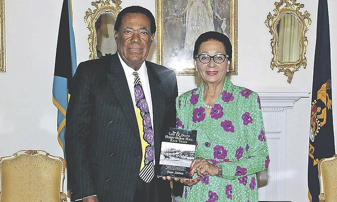 "Ivan James, author of ""The Life and Death of Hobby Horse Hall Race Track"", paid a courtesy call and presented a copy of the book to Governor-General Dame Marguerite Pindling at Government House."