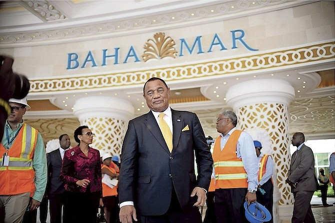 Prime Minister Perry Christie pictured during Monday's tour of the Baha Mar property. Photo: Shawn Hanna/Tribune Staff