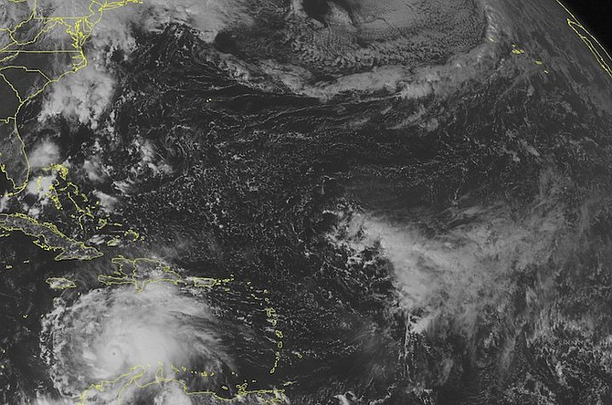 This NOAA satellite image taken on Saturday at 12.4pm shows Hurricane Matthew continuing to trek across the southern Caribbean. Photo: NOAA/Weather Underground