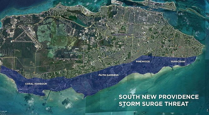 An unofficial map showing the areas which could be flooded by a potential storm surge in southern New Providence from Hurricane Matthew which has circulated on social media in recent days