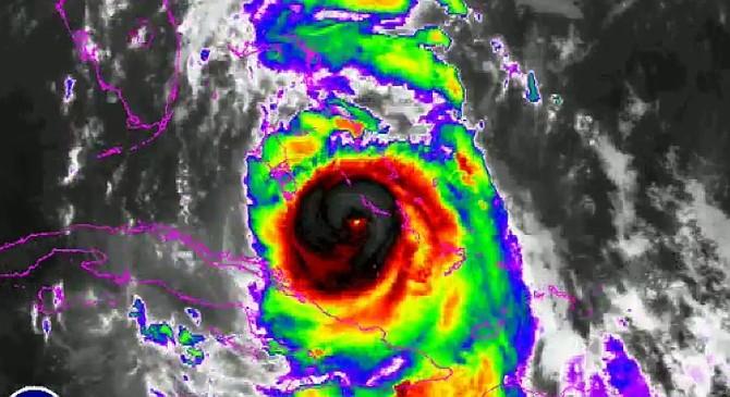 A satellite image of Hurricane Matthew approaching New Providence.