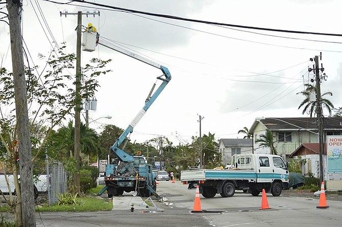 Bahamas Power and Light crews at work this week. (Photo from BPL's Facebook)