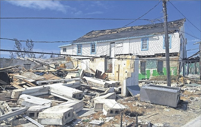 Some of the wreckage alongside the Star Club in West End, Grand Bahama.