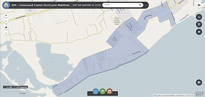 A graphic provided by BPL showing the areas flooded in the Marshall Road and Misty Garden areas.