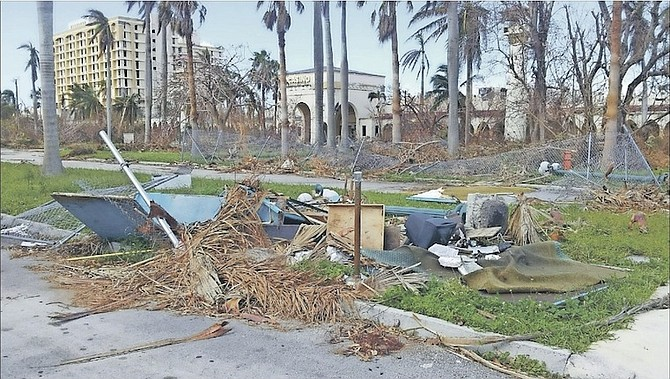 "Damage at the Royal Oasis in Freeport, where debris has been described as ""an eyesore within an eyesore""."