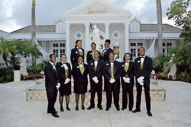 Members of the butler team at Sandals ready to welcome guests following its reopening.